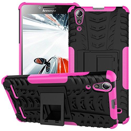 TiHen Handyhülle für Lenovo A6000 Plus Hülle, 360 Grad Ganzkörper Schutzhülle + Panzerglas Schutzfolie 2 Stück Stoßfest zhülle Handys Tasche Bumper Hülle Cover Skin mit Ständer -Rose
