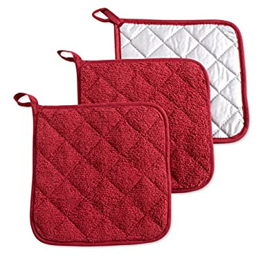 DII 100% Cotton, Machine Washable, Heat Resistant, Everyday Kitchen Basic, Terry Pot Holder, 7 x 7, Set of 3, Barn Red, Potholder, 3 Piece