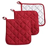 DII 100% Cotton, Quilted Terry Oven Set Machine Washable, Heat Resistant with Hanging Loop, Potholder, Barn Red 3 Count