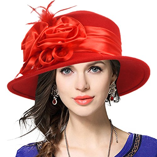 VECRY Women's Wool Church Dress Cloche Hat Plumy Felt Bucket Winter Hat (Floral-Red)