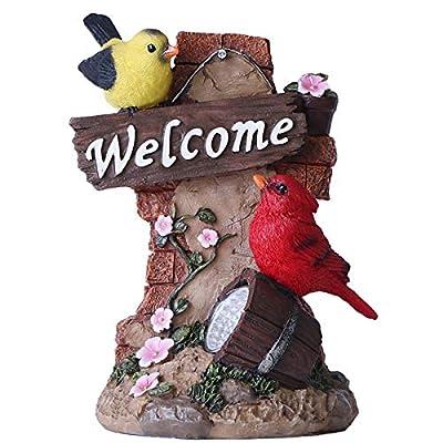 TERESA'S COLLECTIONS Bird Welcome Sign Garden Statue with Solar Light Resin Garden Sculptures for Spring Outdoor Decoration(Outdoor Paradise)
