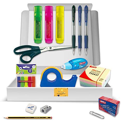 Pack Material Oficina - PS BASICS OFFICE (ESENCIAL) - Kit de material de Oficina: Subrayadores, Bolígrafos, Corrector Tipp-ex, Cinta Adhesiva, Clips, Tijeras. Productos de Papeleria al Mejor Precio