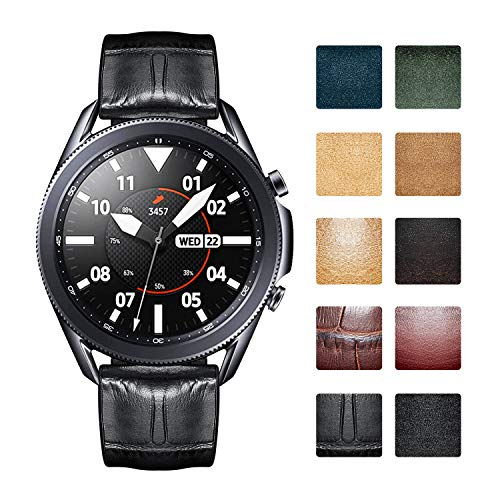 BINLUN Replacement Watch Bands Compatible with Samsung Galaxy Watch 42mm/46mm,Active 2,Samsung Gear S3 Classic/Frontier Smartwatch Waterproof Flexible Leather Silicon Hybrid Watch Straps(20mm/22mm)