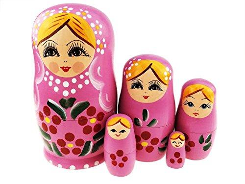 Winterworm Set of 5 Blonde Girl Wooden Stacking Toy Toddler Doll Babushka Dolls Matryoshka Doll Russian Nesting Doll Gifts Kids Toy (Pink)