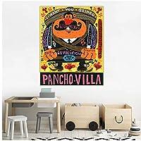 シトンホルヘグティエレス《パンチョヴィラ》キャンバスアート油絵有名なアートワークポスター写真壁の装飾家の居間の装飾-60x80cmx1フレームなし