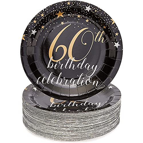 Blue Panda Paper Plates (80-Pack) -'60th Birthday Celebration' Centered on Plates - Ideal for Parties, BBQ - Black/Silver/Gold, 22.8 cm