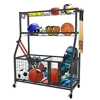 UBOWAY Sports Equipment Storage Rack  Garage Basketball Organizer for Ball Outdoor Cart