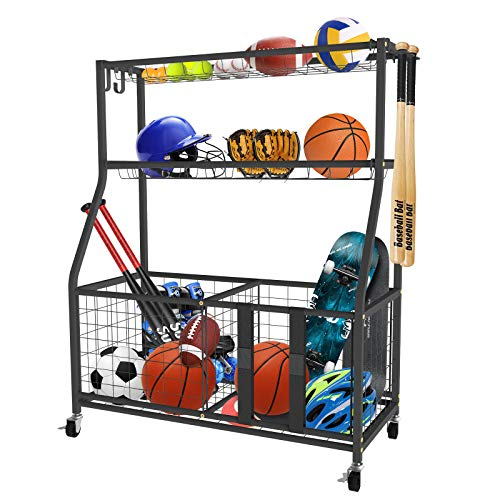 UBOWAY Sports Equipment Storage Rack: Garage Basketball Organizer for Ball Outdoor Cart