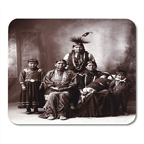 """AOHOT Mauspads Baby Native American Family Original Title Sauk Indian Photograph by Frank Rinehart 1899 History Mouse Pad Mats 9.5"""" x 7.9"""" for Notebooks,Desktop Computers Office Supplies"""