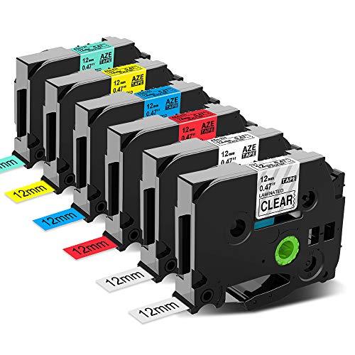 Anycolor kompatible Schriftband als Ersatz für Brother TZ Tape 12mm, P-touch 12mm 0.47 TZe Tape TZe-131 231 431 531 631 731 Etiketten für P Touch Etikettendrucker PTD200 D400 D210VP 1010 H105 1000