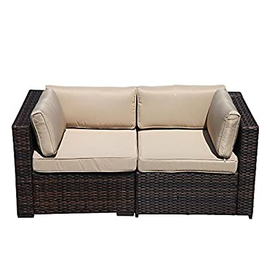 PATIOROMA 2 Corner Chairs, All Weather Brown Rattan Wicker Outdoor Furniture,Additional Seats for Sectional Sofa(B07CVMRFZY/B07CVMW435), Beige Removable cushions,Steel Frame