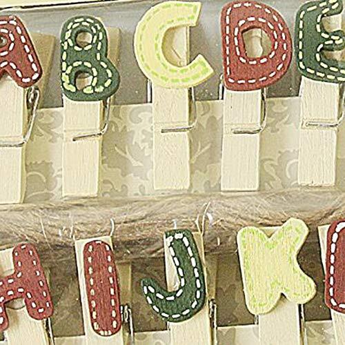 14 Pcs/Pack créatif coloré lettres en bois Clip Photo papier pince à linge artisanat Clips partie décoration Clip avec corde de chanvre