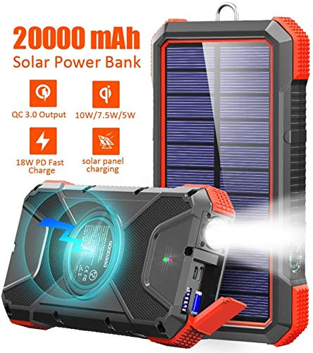 GOODaaa Powerbank 20000mah Qi Wireless Solar Ladegerät,Power Delivery 18W Schnelles Aufladen Externer Akku mit LED Lampe/3 Ausgänge,10W/7.5W Induktive Ladung Kompatibel für Samsung,iPhone,MacBook
