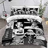 3 Pcs Marilyn Monroe Ultra Soft and Breathable Bedding Comforter Cover Set Washed Microfiber with Zipper Closure Duvet Cover Bedding for All Season King Size