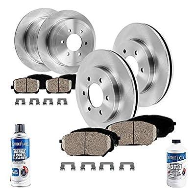 Detroit Axle - Front and Rear Disc Brake Kit Rotors w/Ceramic Pads w/Hardware & Brake Kit Cleaner & Fluid for 2004 2005 Infiniti QX56/ Nissan Armada/Titan