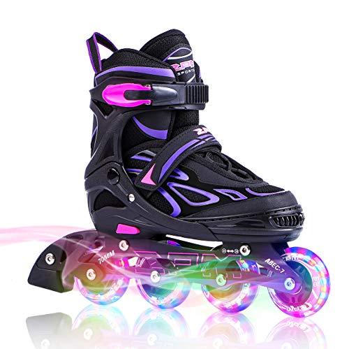 2PM SPORTS Verstellbar Inliner für Kinder, Leucht Inline Skates Rollschuhe für Damen/Herren (Purple, Medium(33-36EU))