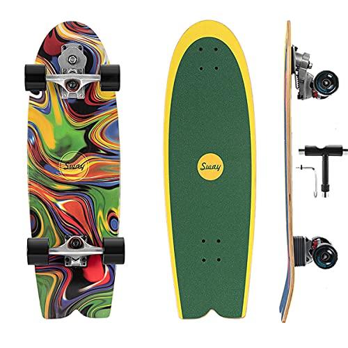 VOMI Profesional Surfskate Board 32In Tabla De Skate Completo con S7 Carving Truck, Monopatín para Principiantes Adultos Niño, con Rodamientos De Bolas ABEC-11 & 7 Capas Arce Duro Longboard Surfing