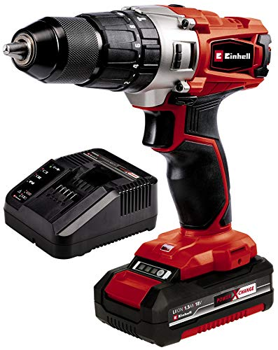 Einhell Cordless Impact Drill TE-CD 18/44 Li-i Power X-Change (Lithium-Ion, 18 V, 44 Nm, Hammer Function, 2-speed Gearing, LED Light, 13 mm Metal Drill Chuck, Include 1 x 1.5 Ah Battery and Charger)