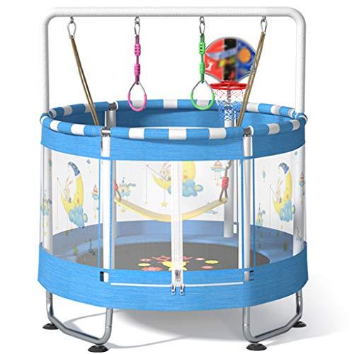 Inicio Niños Trampolín Mini Trampolines Recreativos Para Niños Soporta Hasta 220 Libras Interior / Exterior 59 Pulgadas Entretenimiento En El Hogar Ejercicio Plegable Y Fuerte(Color:Azul,Size:segundo)