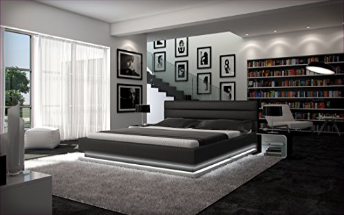 SalesFever Polster-Bett 180 x 200 cm schwarz aus Kunstleder mit LED-Beleuchtung am Fuß des Bettes | Inapir | Das Kunst-Leder-Bett ist EIN edles Designer-Bett | Doppel-Bett in Leder-Optik | Made in EU