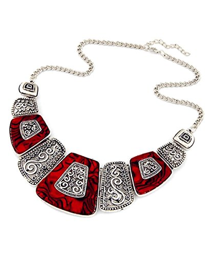 Novadab Ruby Marble Bohemian Art Statement Red Silver Plated Modern Women Jewelry Necklace (Red)