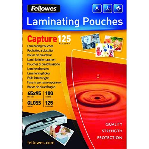 Fellowes 53067 - Pack de 100 fundas para plastificar, formato 65 x 95 mm
