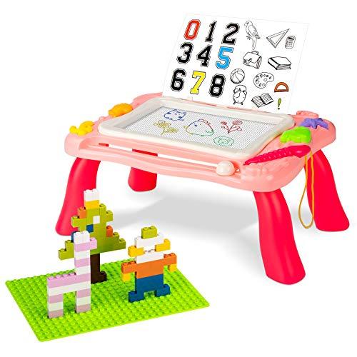 Tablero de dibujo magnético Tablero mágico para niños, tablero de dibujo 3 en 1 para niños pequeños Mesa de actividades para niños con bloques de juguete Aprendizaje para niños (Rosa)