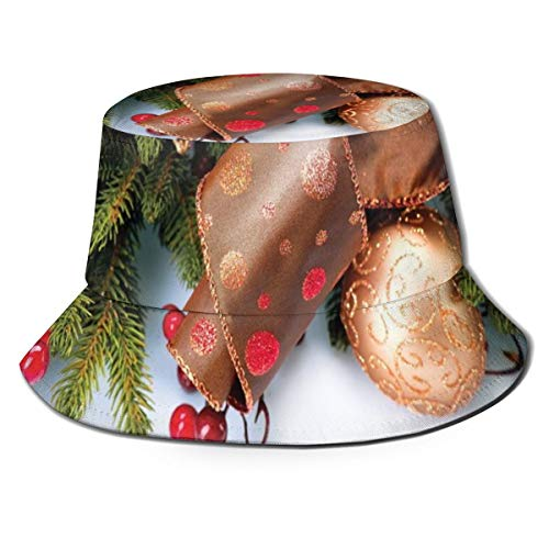 Unisex Summer Fisherman Cap,Pine Cones with Garland Tree Topper Star Mistletoe and Swirled Ornate Elements,Travel Beach Outdoor Sun Hat