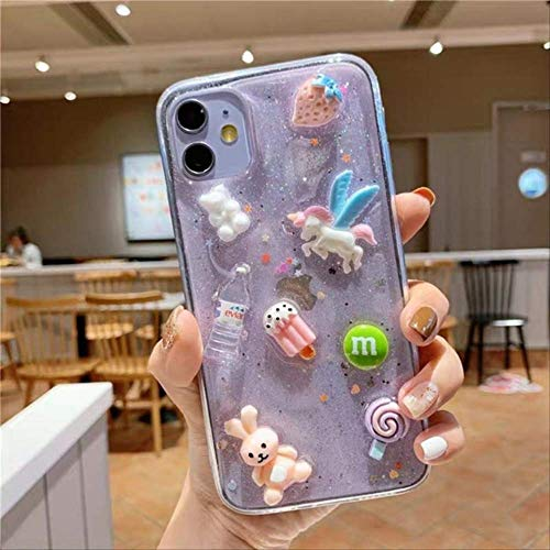 SSICA Dibujos Animados 3D Crystal Gummy Candy Color Ice Cream Unicorn Funda para teléfono para iPhone 11 X XS Pro MAX XR 7 8 Plus Korea Donuts Funda Suave para iPhone 6 6S 3
