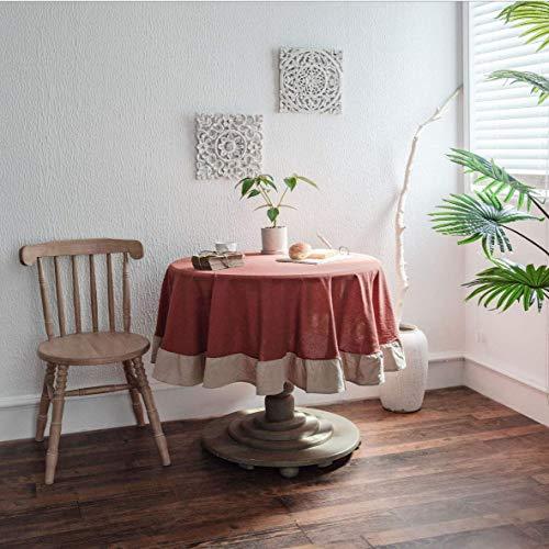 Mantel Redondo de Vino Tinto diámetro 150 cm decoración del hogar Protege la Mesa de Comedor de Escritorio Mesa de Centro