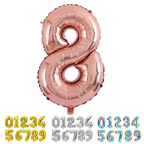 Ponmoo Foil Globo Número 8 Oro Rosa, Gigante Numeros 0 1 2 3 4 5 6 7 8 9 10 11 a 19 20 a 29 30 40 50 60 70 80 90 100, Helio Globos para La Boda Aniversario, Globo de Cumpleaños Fiesta Decoración
