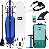 Beyond Marina Ultra-Light Inflatable Stand Up Paddle Board 10'6'' Long 6' Thick SUP Paddle Board W Premium Carbon Paddle, Dual Action Pump, Leash, Waterproof Backpack and Phone Case