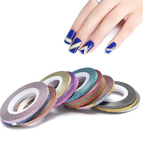 BOZEVON Nail Art Decoration Pegatinas - 6/14 Rollos Pegatinas de Uñas Tiras Decoración Para Las Uñas Decal DIY Funda Auto-Adhesiva de Striping Cinta