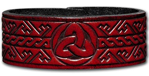 Hoppe & Masztalerz Lederarmband geprägt 24MM aus Vollrindleder Keltische Trinity Schlüsselmuster (5) Mahagony-antik mit Druckknopfverschluss (nickelfrei) (21 Zentimeter)