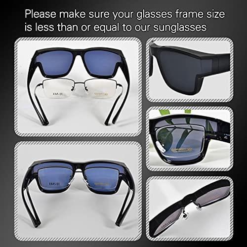 PSI Premium Oversize Sunglasses fit over glasses for Women Men, Solar Shield Sunglasses wear over Prescription glasses, Wraparound Sunglasses, UV400 Protection HD Driving