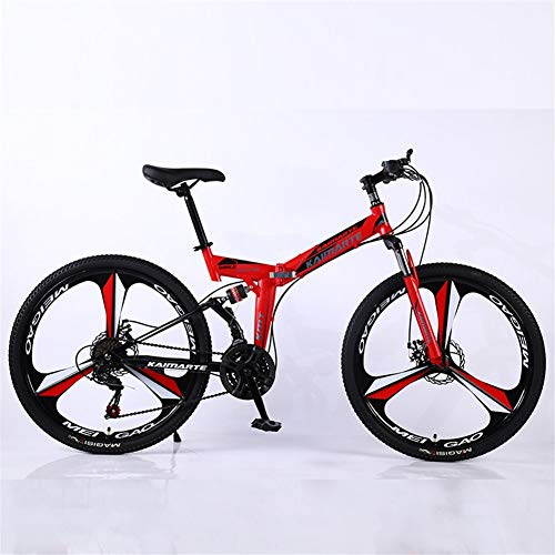 ZHTX Road Bikes Racing Bicycle Foldable Bicycle Mountain Bike 26 Inch Steel 21/24/27/30 Speed Bicycles Dual Disc Brakes (Color : Red, Size : Three Cutter Wheels)