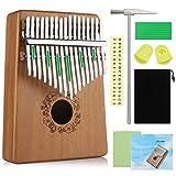 Anpro Kalimba à 17 touches en acajou de haute qualité avec instructions d'étude et marteau de accordage, cadeau musical professionnel pour les amateurs de musique, enfants, adultes, débutants