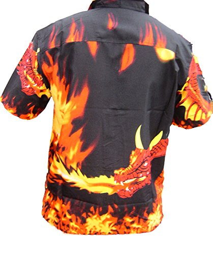 Kurzärmeliges cooles Kinder-Hemd mit Feuer-Drachen-Flammen-Motiv, für alle Altersgruppen