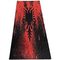 女性のためのヨガマット赤黒アルバニアの旗クリスマスと大晦日の家族や友人へのプレゼントに最適(70 x 24インチ)(61X180 cm)