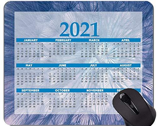 Alfombrilla de ratón con Calendario 2021, Alfombrillas de ratón con Flor de semilla de Diente de león