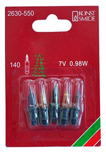 Konstsmide 2630-550 Ersatzbirne / für Minilichterketten / 7V, 0,98W / 5er Blister / buntes Glas / grüne Steckfassung