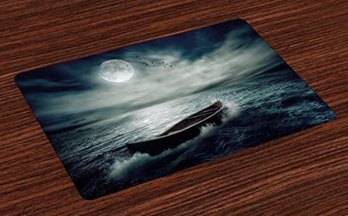 ABAKUHAUS visvangst Placemat Set van 4, Boot in Ocean, Wasbare Stoffen Placemat voor Eettafel, Dark Blue White