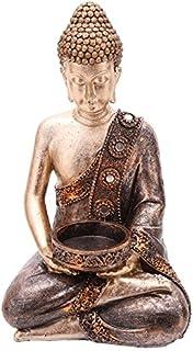 Guru-Shop Statue de Bouddha en Pierre 19 cm Bougie D/écorative Bougie Conteneurs