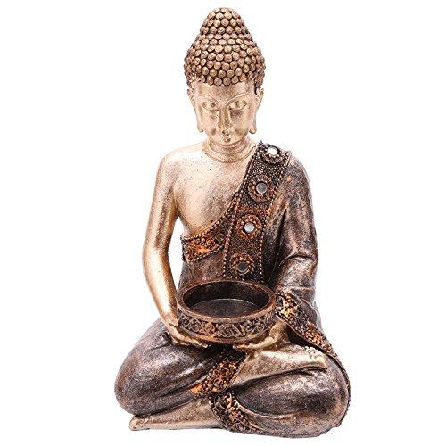Puckator Bud260Statua Buddha thailandese Porta Candela Resina Marrone/Oro 11x 9x 19cm