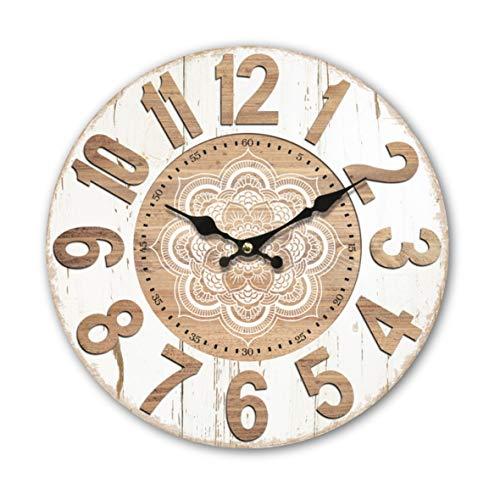 Reloj de pared redondo de madera MDF de 34 cm, mandala, geométrico, espiritual, efecto madera, números estampados, números árabes, reloj de mandala, sala de estar, dormitorio y cocina, multicolor