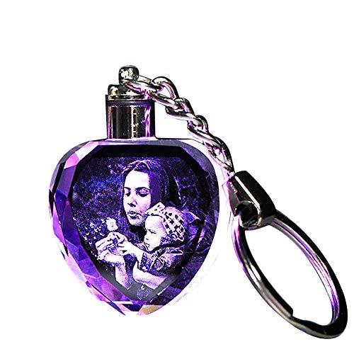 Junmei Kundenspezifische Kristall-Schlüsselanhänger mit LED-Licht, gravierte Schlüsselanhänger-Schlüsselringe aus geätztem Kristallglas - Passen Sie Ihr eigenes Foto an (Achteck & Herz)