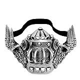 ILOVEMASKS Black Silver Lower Half Bullet Respirator Steampunk Bone Jaw Mouth Gas Mask Costume Masquerade Prom Party Burning Man Halloween Accessory