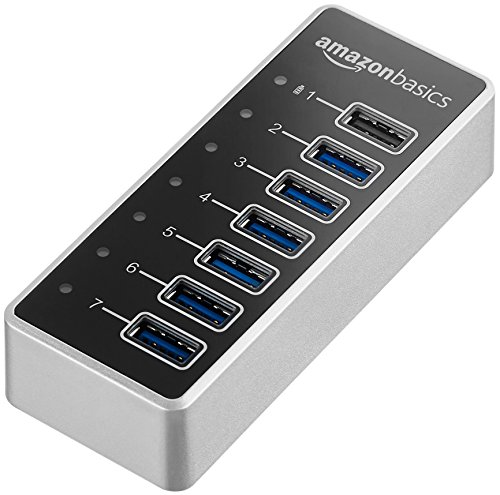 AmazonBasics - Hub de 7 puertos USB A 3.1 con adaptador de corriente, 36 W (12 V/3 A), Plateado
