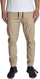 KDNK Men's Jogger Fit Stretch Twill Elastic Waist and Leg Drop Crotch Pants