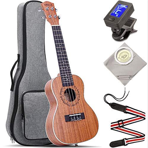 Concert Ukulele UKELE 23 inch Wide Neck Big Fingerboard Nut ukuleles Kit Professional Ukeleles for Beginners Starter Pack Bundle with Gig Bag & Tuner & Strap & Aquila String Set